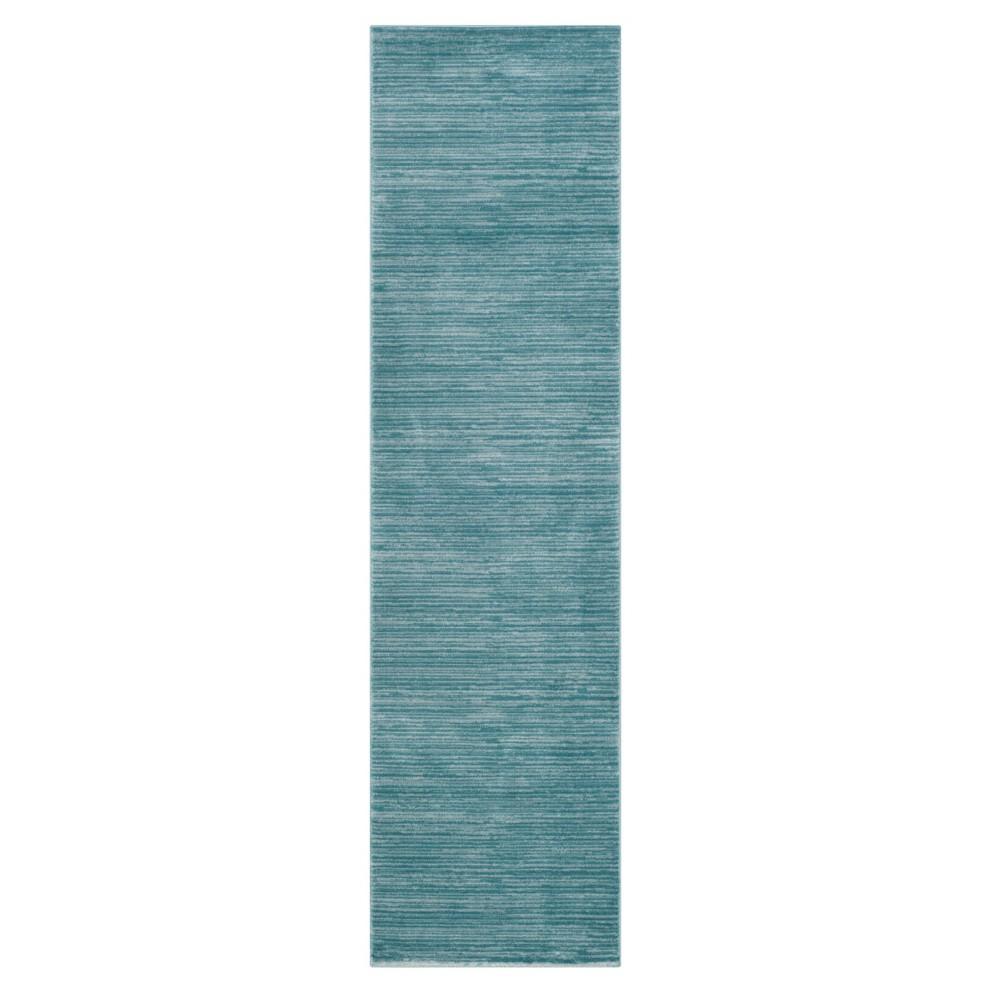 Aqua (Blue) Solid Loomed Runner 2'2X6' - Safavieh