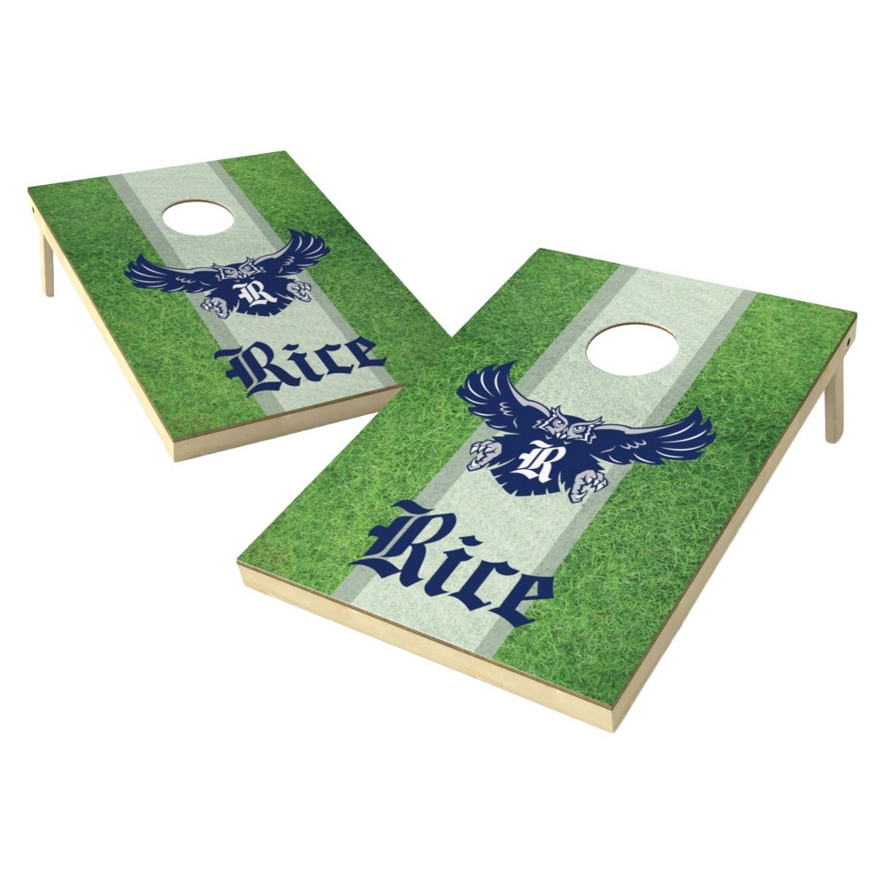 Rice Owls Wild Sports 2' x 3' Field Design Tailgate Toss Platinum Cornhole Set