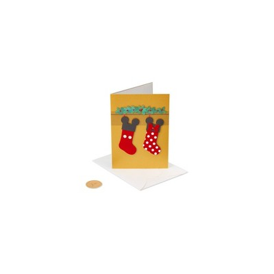 Christmas Card Mickey and Minnie Mouse Stockings - PAPYRUS