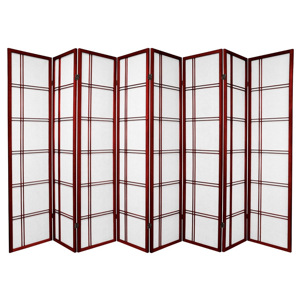 6 ft. Tall Double Cross Shoji Screen - Rosewood (8 Panels), Red