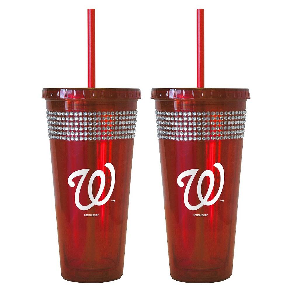 Boelter Brands MLB New York Mets Set of 2 Bling Straw Tumbler - 22oz, Multi-Colored
