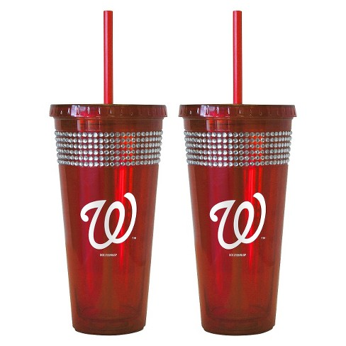 Boelter Brands MLB New York Mets Set of 2 Bling Straw Tumbler - 22oz - image 1 of 1