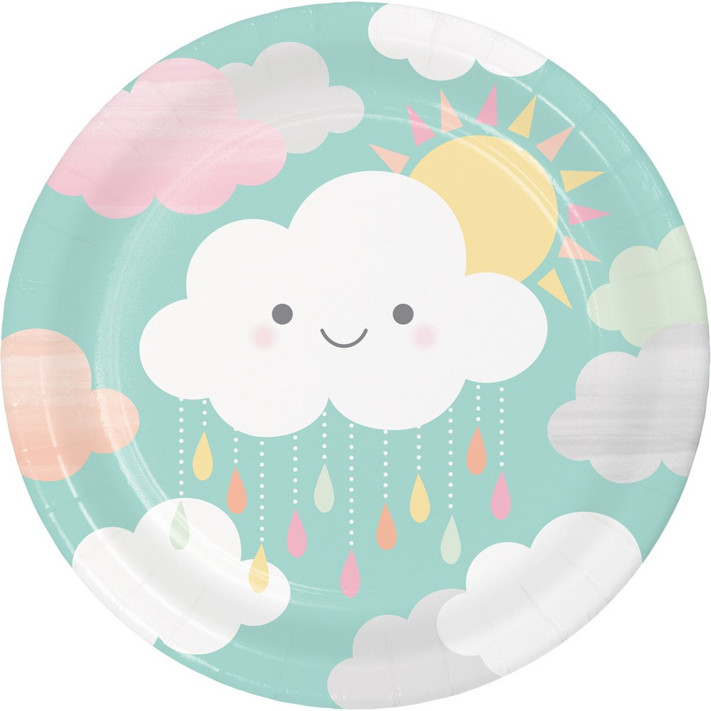 24ct Clouds Paper Plates White