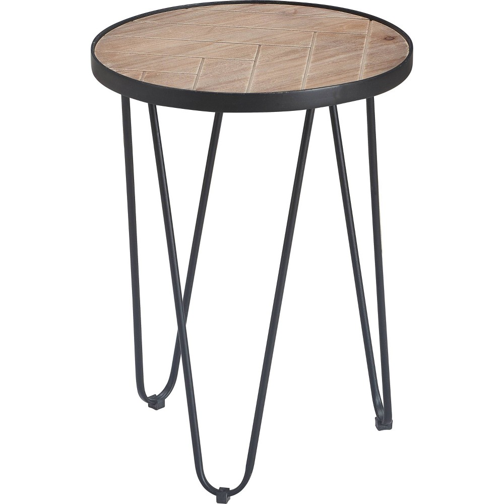 Image of Farmhouse Side Table Metal Brown/Black- Click Décor