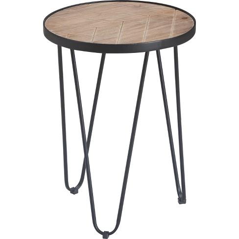 Farmhouse Side Table Metal Brown Black Decor Target - Black Metal Narrow End Table