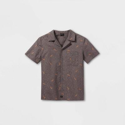 Boys' Skateboard Print Short Sleeve Button-Down Shirt - art class™ Gray