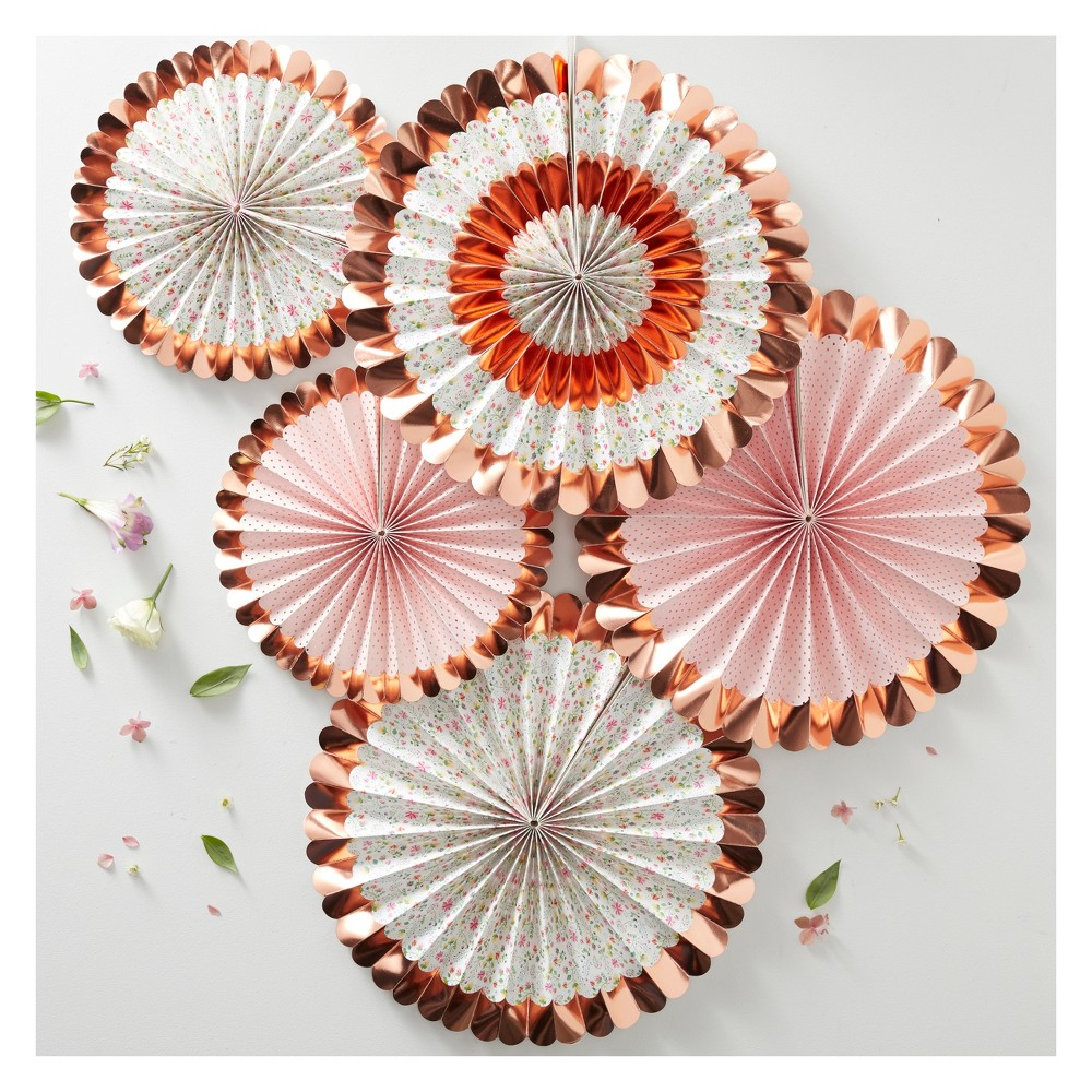 Image of 5ct Foiled Ditsy Floral Fan Decorations