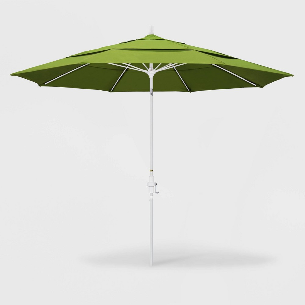 Image of 11' Sun Master Patio Umbrella Collar Tilt Crank Lift - Sunbrella Macaw - California Umbrella