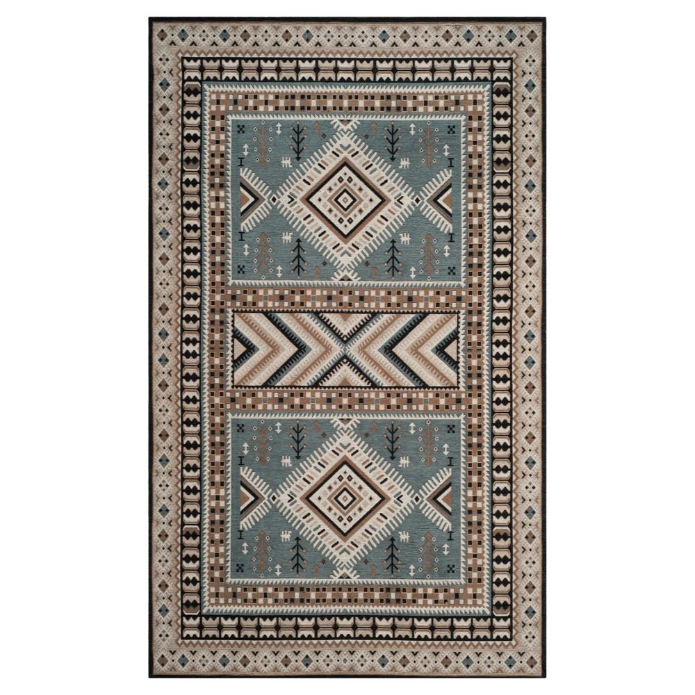 Slate/Beige (Grey/Beige) Tribal Design Loomed Area Rug 6'7