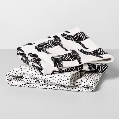 2pk Zebra Hand Towels Black/White - Opalhouse™