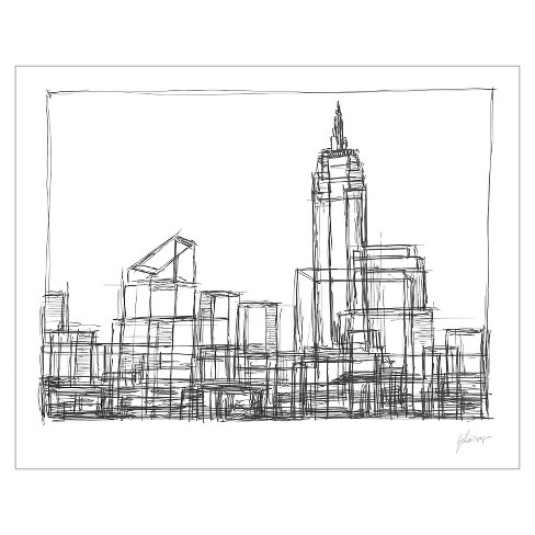 Wire Frame Cityscape I Unframed Wall Canvas Art - (24X30) : Target