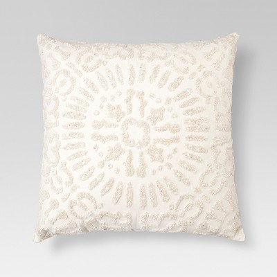 Cream Embellished Medallion Square Throw Pillow (18 x18 )- Threshold™