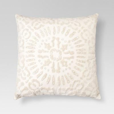 Cream Embellished Medallion Square Throw Pillow (18 x18 )- Threshold™