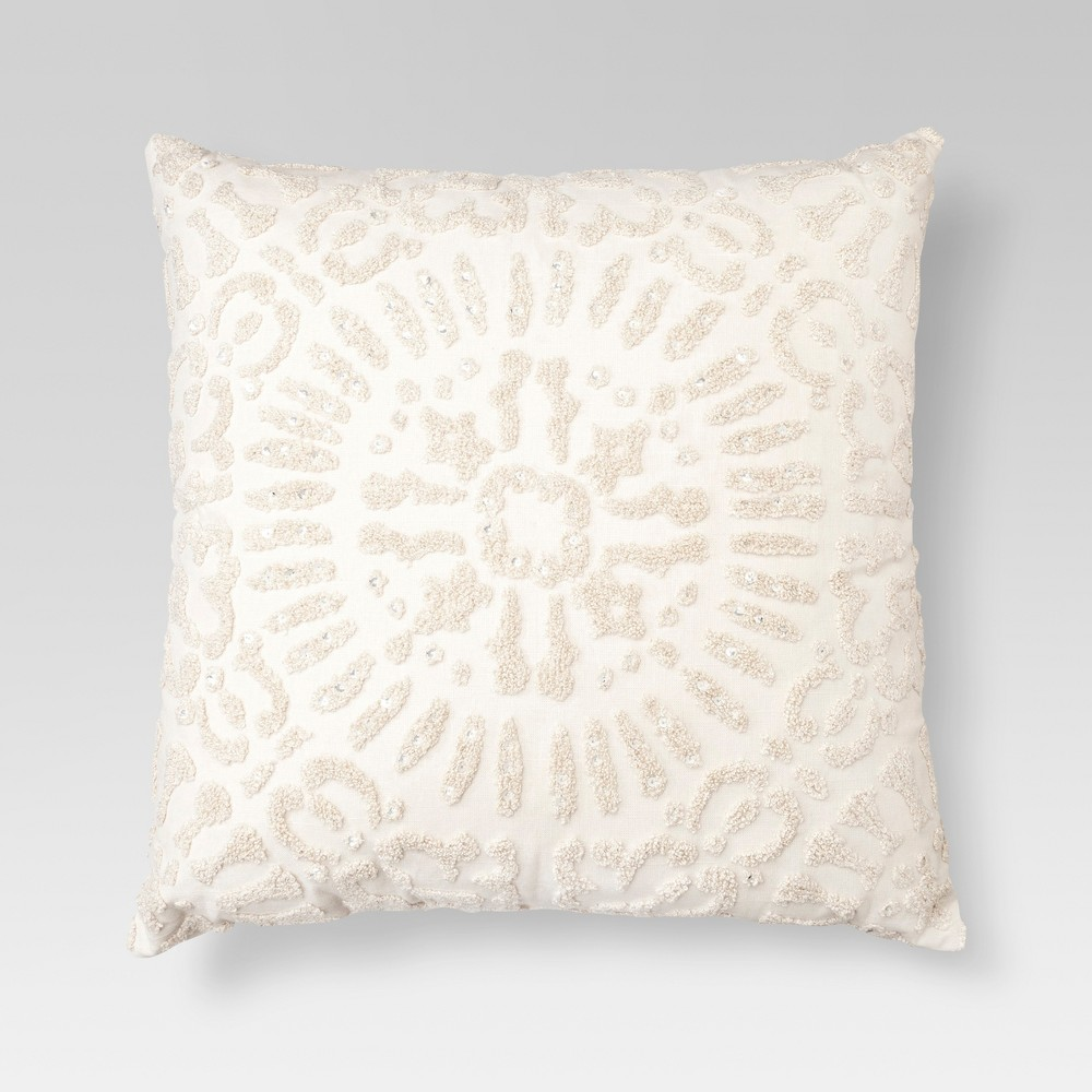 Cream (Ivory) Embellished Medallion Square Throw Pillow (18