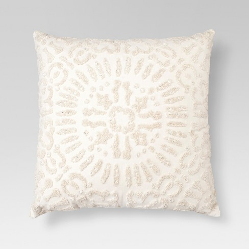 "Cream Embellished Medallion Square Throw Pillow (18""x18"") - Threshold™ - image 1 of 1"