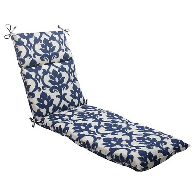 Outdoor Chaise Lounge Cushion - Blue/White Damask