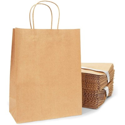 Large Brown Kraft Paper Gift Bags with Handles (10 x 5 x 13 in, 50 Pack)