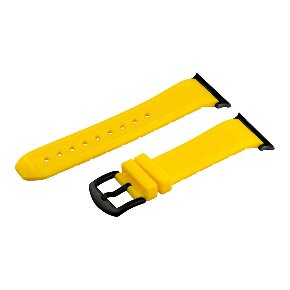 Clockwork Synergy Divers Silicone Apple Watch Band 42mm with Black Adapter - Yellow, Adult Unisex Customize the look of your timepiece with the Divers Silicone Apple Watch Band from Clockwork Synergy. Crafted from high-quality silicone, this yellow watchband ensures soft, comfortable wear and long-lasting durability. With nine adjustability holes, you'll get the perfect custom fit so your watch stays in place all day. Whether you bring a fun pop of color to your look with the yellow watchband, or you switch it out to complement a specific outfit, you'll love sporting a unique accessory that complements your style. Gender: Unisex. Age Group: Adult.
