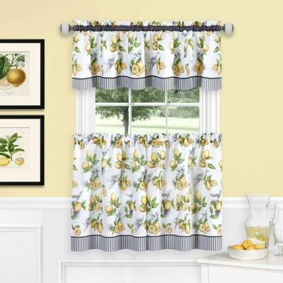 GoodGram Lemons Complete Cafe Style Kitchen Curtain Tier & Valance Set