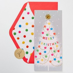 10ct Papyrus Pom Pom Merry Christmas Tree Greeting Cards