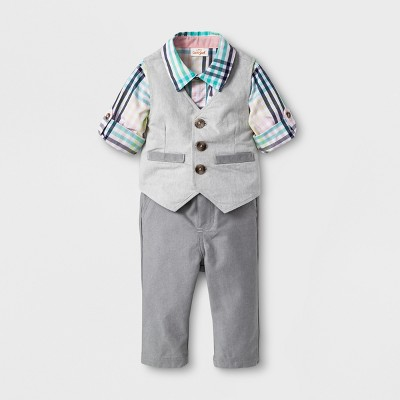 Baby Boys' 3pc Long Sleeve Button-Down Shirt, Vest, and Trouser Set - Cat & Jack™ Gray Newborn