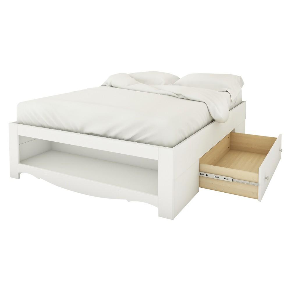 Nexera Pixel Reversible Storage Bed - White (Full)