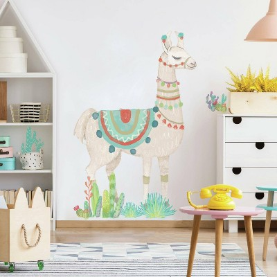 Watercolor Llama Peel and Stick Giant Wall Decal - RoomMates