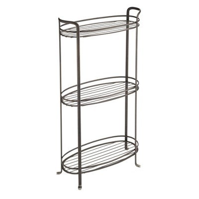 mDesign Vertical Standing Bathroom Shelving Unit Tower with 3 Baskets
