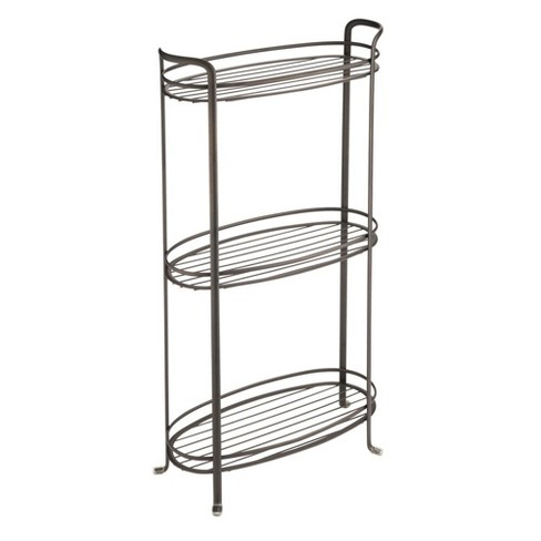 Mdesign Vertical Standing Bathroom Shelving Unit Tower With 3 Baskets Bronze Target