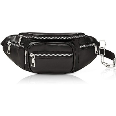 """Black Faux Leather Fanny Pack for Women, Traveling Belt Bag Pouch with Adjustable Waist Strap (33""""-52"""")"""