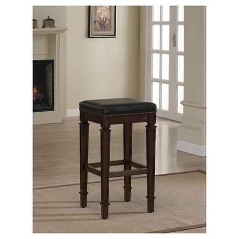 Monaco High Gloss Bonded Leather 26 Counter Stool Hardwoodblack