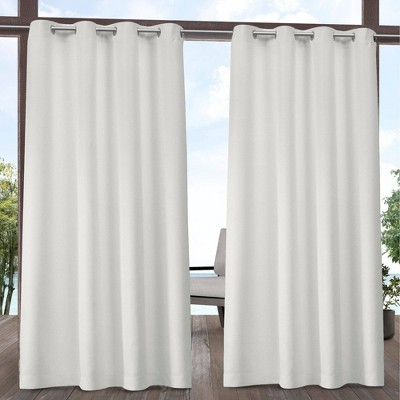 "Set of 2 120""x54"" Solid Cabana Grommet Top Light Filtering Curtain Panels Vanilla - Exclusive Home"