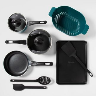 10pc Aluminum Nonstick Cookware Set Turquoise - Room Essentials™