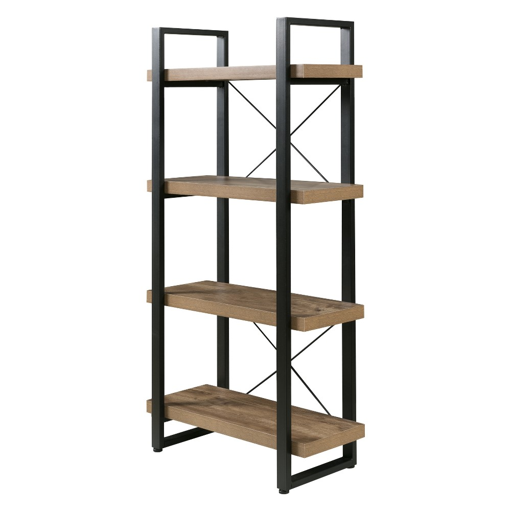 "Image of ""55"""" Bourbon Foundry 4 Tier Bookshelf Wood and Black Steel Oak - OneSpace, Brown"""