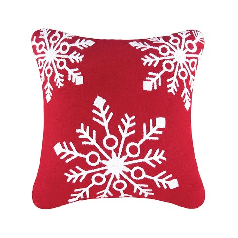 C F Home 18 X 18 Snowflakes Red Rice Stitch Pillow Target