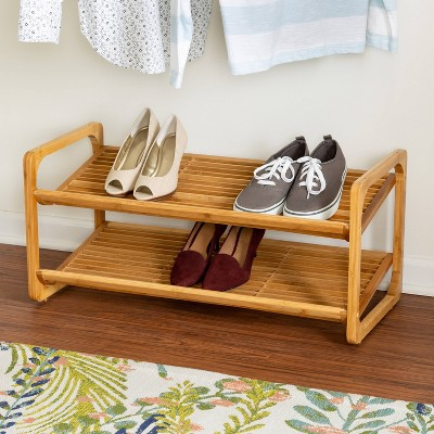 Honey-Can-Do 2 Tier Stackable Bamboo Shoe Shelf