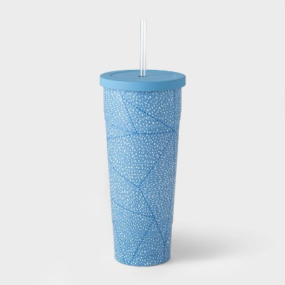 25oz Double Wall Stainless Steel Vacuum Tumbler with Straw Quilt Dashes Blue - Room Essentials™