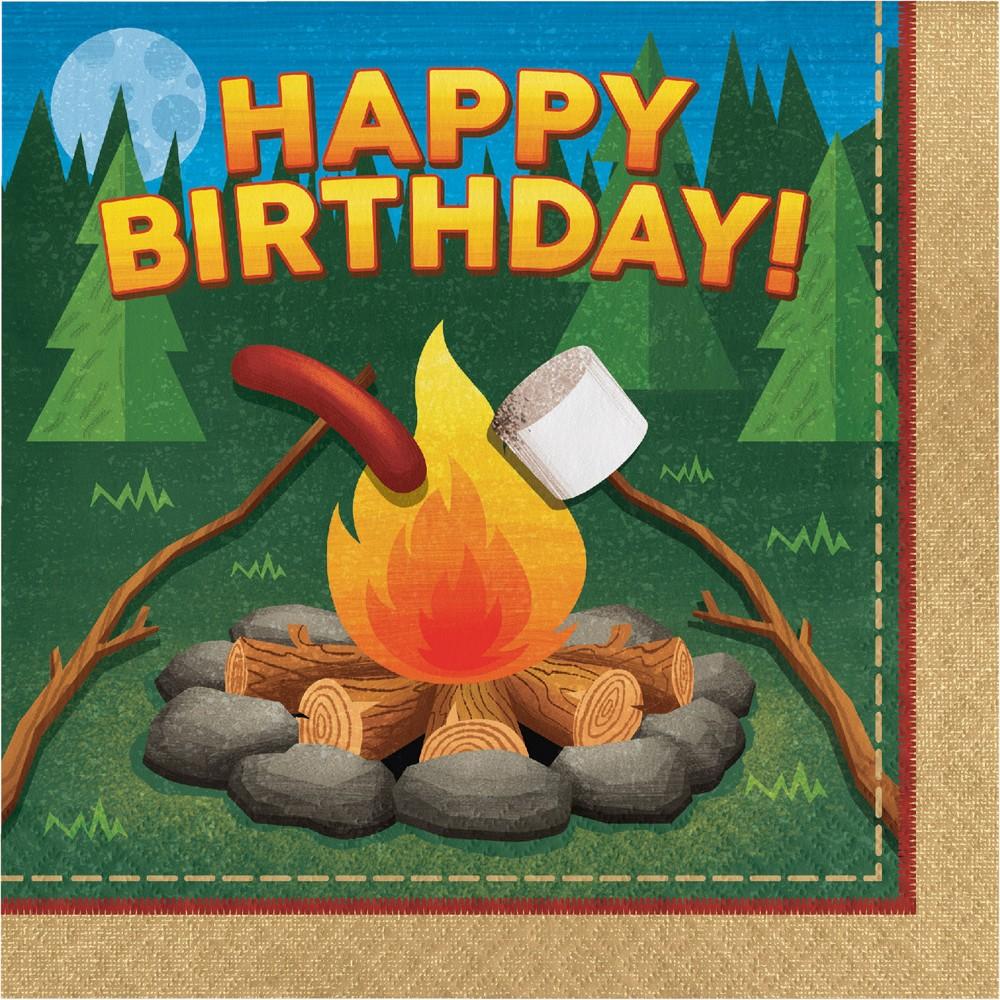 Image of 16ct Creative Converting Camping Birthday Napkins