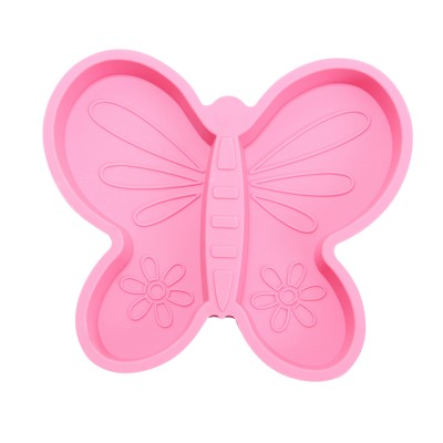 Brinware Silicone Divided Baby Plate 8  x 9  Butterfly - Pink