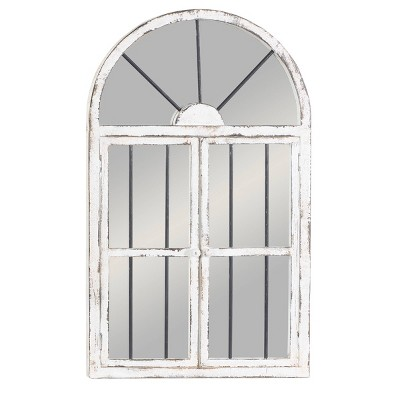 """25"""" x 42"""" Distressed Wood Arched Window Wall Mirror White - Olivia & May"""