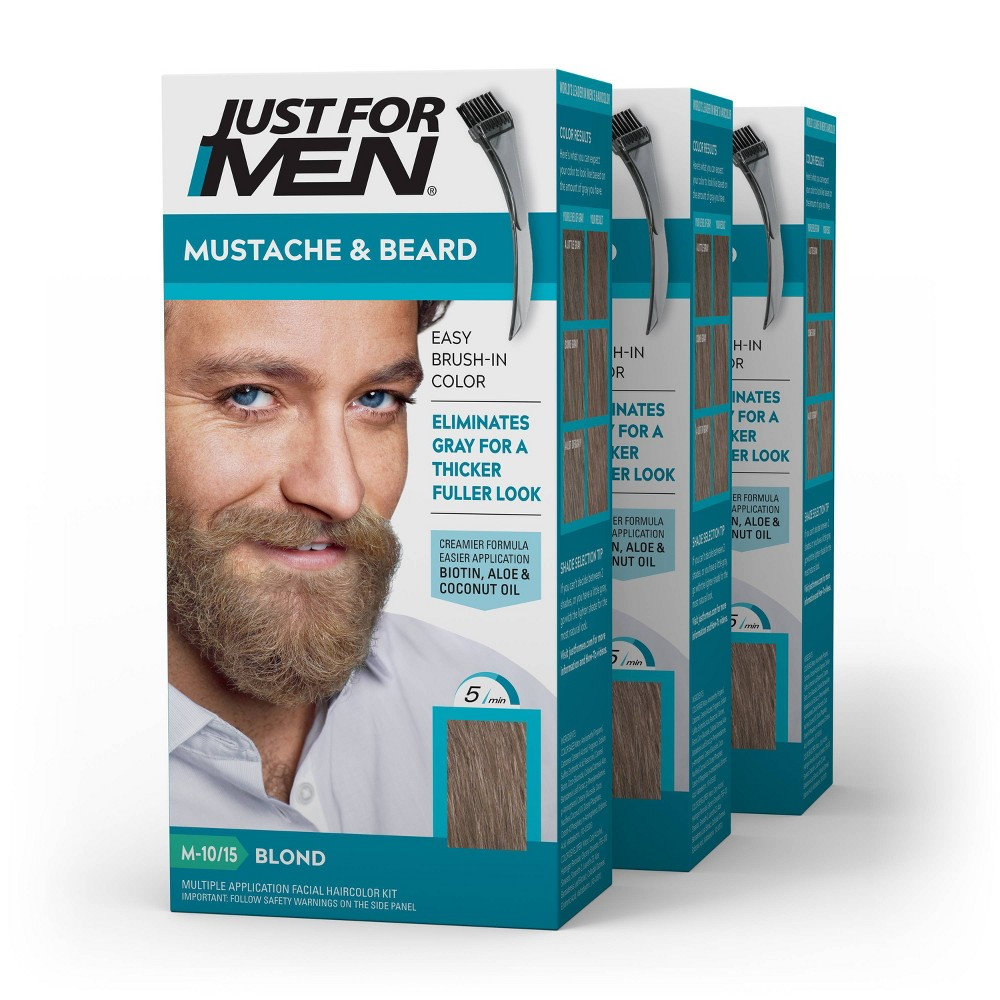 Image of Just For Men Mustache & Beard Beard Color - ing for Gray Hair with Brush Included Color - Blond M10/15 - 3pk