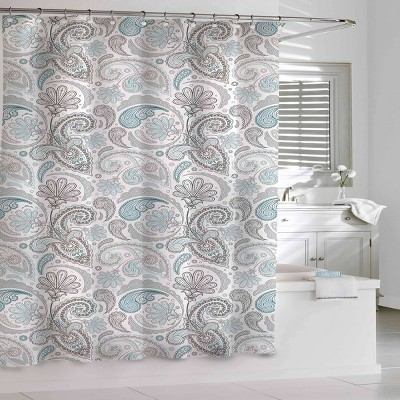 Floral Swirls Shower Curtain Blue/Gray - Cassadecor
