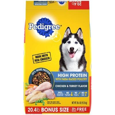Pedigree High Protein Chicken & Turkey Flavor Adult Complete & Balanced Dry Dog Food - 20.4lbs