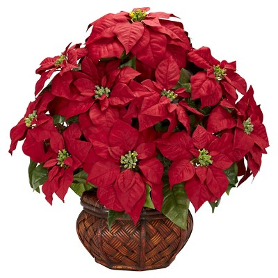Poinsettia with Decorative Planter Silk Arrangement - Nearly Natural