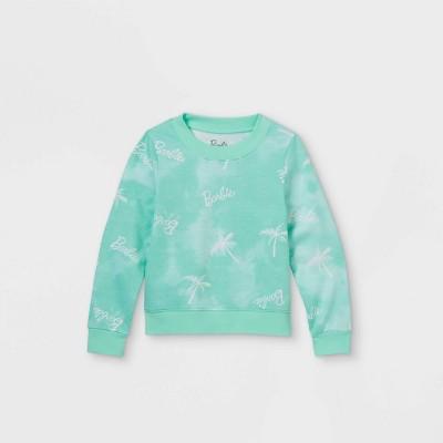 Girls' Barbie Palm Trees Printed Pullover Sweatshirt - Green