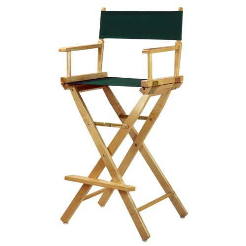 Bar-Height Director's Chair - Natural Frame, Green Canvas, Hunter Green