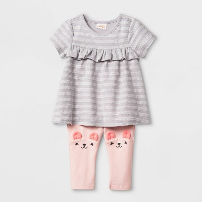Baby Girls' Short Sleeve Critter Tunic Top & Bottom Set - Cat & Jack™ Gray/Pink 3-6M