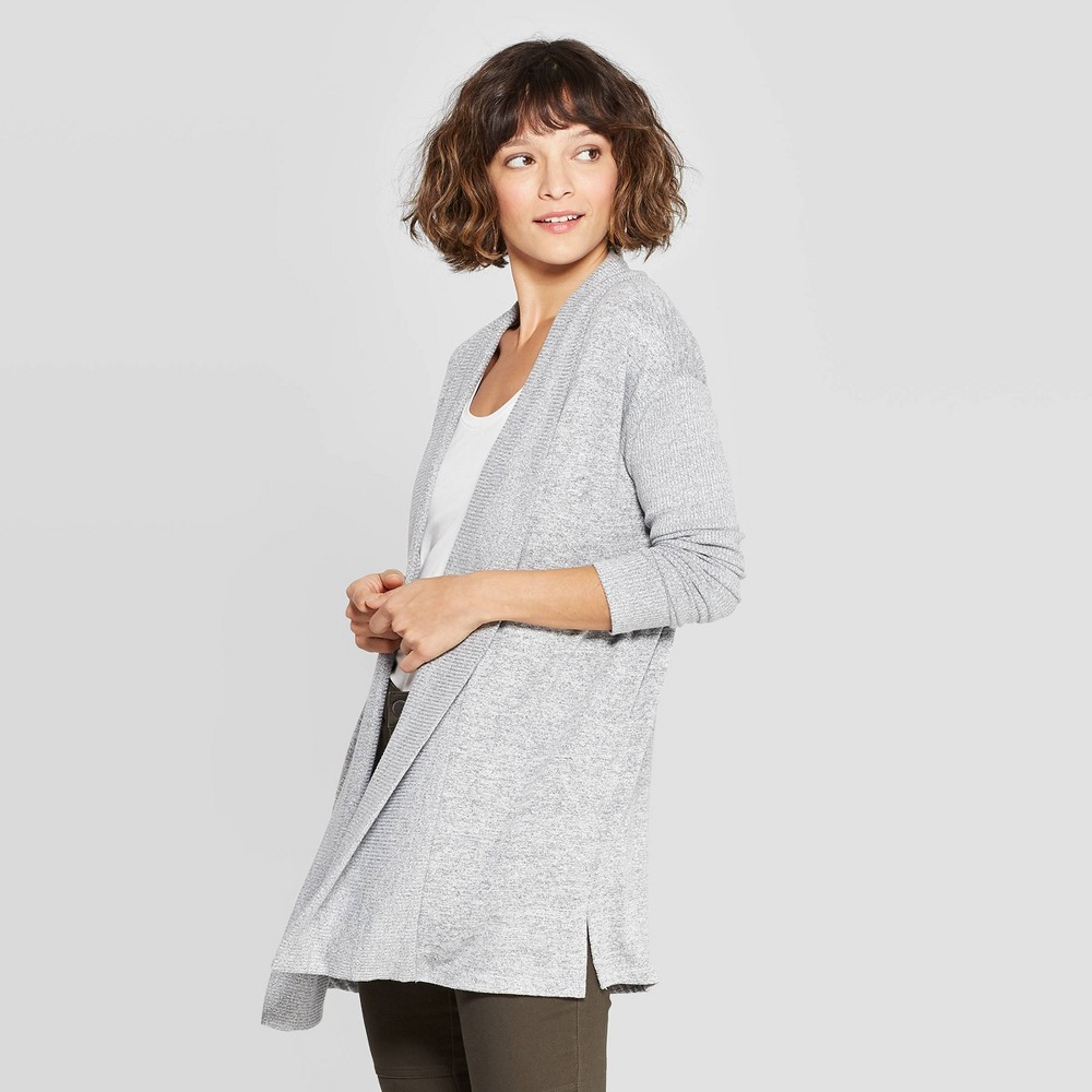 51ce9101223 Womens Casual Fit Long Sleeve Open Knit Cardigan A New Day Gray XL