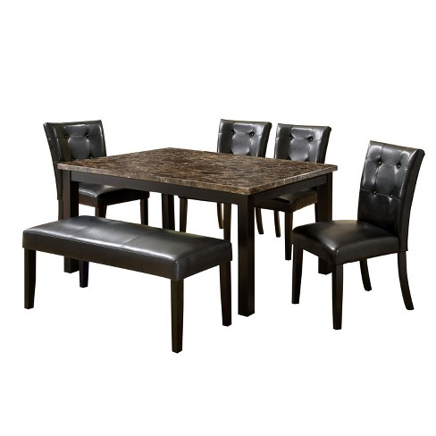 Iohomes 6pc Faux Marble Dining Table Set Woodblack Target