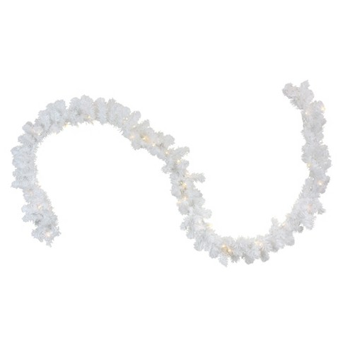 """Northlight 9' x 10"""" Prelit LED Battery Operated White Artificial Christmas Garland - Clear Lights - image 1 of 2"""